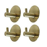 abordables -adhésifs crochets ronds 4 pièces durables 304 cintres muraux en acier inoxydable étanche antirouille à l'épreuve de l'huile pour cuisine salles de bains portes placard de bureau-noir argent doré