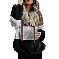 Women's Casual Hoodie Jacket - Color Block Brown S