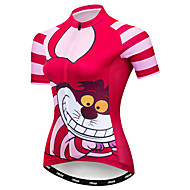21Grams Cheshire Cat Women's Short Sleeve Cycling Jersey - Fuchsia Bike Jersey Top Breathable Moisture Wicking Quick Dry Sports Polyester Elastane Terylene Mountain Bike MTB Road Bike Cycling