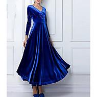 Χαμηλού Κόστους -Γυναικεία Φόρεμα ριχτό από τη μέση και κάτω Μακρύ φόρεμα - Μακρυμάνικο Μονόχρωμο Πλισέ Άνοιξη Φθινόπωρο Λαιμόκοψη V καυτό Εξόδου Βελούδο Κρασί Μαύρο Βυσσινί Μπλε Πράσινο Τ M L XL XXL