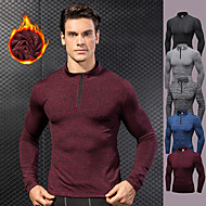 cheap -YUERLIAN Men's Pullover Running Shirt Winter Black Red Blue Rough Black Gray Fleece Running Fitness Gym Workout Long Sleeve Sport Activewear Thermal / Warm Windproof Soft High Elasticity Slim