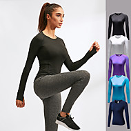 cheap -YUERLIAN Women's Running Shirt Athletic Long Sleeve Fleece Breathable Quick Dry Soft Fitness Gym Workout Running Jogging Sportswear Solid Color Tee Tshirt Violet Blue Atoll White Black Navy Blue