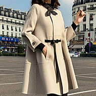 Women's Daily Regular Coat, Solid Colored Round Neck Long Sleeve Polyester Black / Beige
