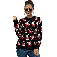 Women's Geometric Long Sleeve Pullover Sweater Jumper, Round Black / White One-Size
