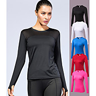 cheap -YUERLIAN Women's Running Shirt Yoga Top Thumbhole Black White Fuchsia Red Blue Mesh Elastane Running Fitness Gym Workout Tee / T-shirt Long Sleeve Sport Activewear Breathable Quick Dry Soft Power Flex