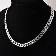 povoljno -Muškarci Lančići Kubanska veza Zavrnuto Lanac kutije Jednostavan Osnovni Moda Kamen Glina Srebro 50 cm Ogrlice Jewelry 1pc Za Dnevno Ulica