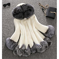levne -Dámské Zima Faux Fur Coat Dlouhé Barevné bloky Větší velikosti Bílá Bílá Černá S M L