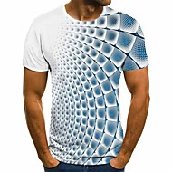 cheap -Men's 3D Graphic T-shirt Basic Daily Round Neck Blue / Purple / Gray / Light Blue / Short Sleeve