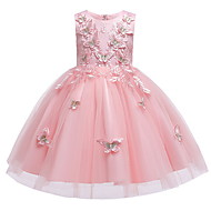 cheap -Kids Girls' Flower Birthday Party Butterfly Floral Lace Dress White