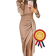 Women's Off Shoulder Cocktail Party New Year Going out Sexy Asymmetrical Bodycon Sheath Dress - Solid Color Pleated Patchwork Asymmetric Off Shoulder Black Blushing Pink Gold S M L XL