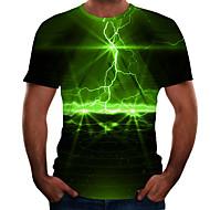 billige -Herre Plusstørrelser T-shirt 3D Grafisk Trykt mønster Toppe Afslappet Basale Rund hals Regnbue Lilla Gul / Kortærmet / Sommer