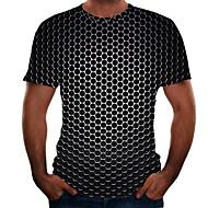 billige -Herre Plusstørrelser T-shirt Geometrisk 3D Grafisk Toppe Basale Rund hals Sort Lilla Guld / Kortærmet