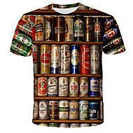 Novelty Fashion 3D Tshirt Men Cans of Beer Printed Hip Hop Crewneck Short Sleeve Men Children T-shirt Tee Tops