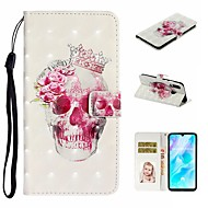Case For Huawei P20 Pro / Huawei P20 lite / Huawei P30 Wallet / Card Holder / with Stand Full Body Cases Skull PU Leather For Huawei P30 Lite/P30 Pro/P8 Lite 2017/P10 Lite