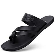 ราคาถูก -สำหรับผู้ชาย หนังเทียม ฤดูร้อนฤดูใบไม้ผลิ ไม่เป็นทางการ รองเท้าแตะ ระบายอากาศ สีดำ