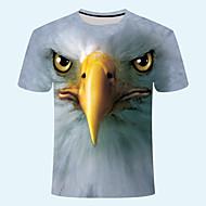 Homme 3D Graphique Imprimé Tee-shirt Quotidien Col Arrondi Gris Foncé / Marron / Bleu Marine / Manches Courtes