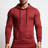 cheap -Men's Hoodie Sweatshirt Running Shirt Long Sleeve Breathable Quick Dry Soft Fitness Running Jogging Sportswear Solid Colored Hoodie Top Hoodie Black Red Grey Green Navy Blue Activewear Micro-elastic