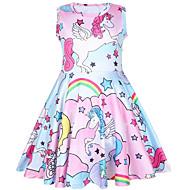 preiswerte -Kinder Mädchen Blumen Einhorn Tier Kleid Rosa