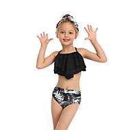 ملابس سباحة بدون كم ورد / هندسي / ألوان متناوبة أوراق استوائية للفتيات أطفال / طفل صغير
