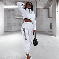 cheap -Women's 2-Piece Half Zip Tracksuit Sweatsuit Casual Long Sleeve Winter High Neck Breathable Soft Fitness Running Jogging Sportswear Outfit Set Clothing Suit White Activewear Micro-elastic / Cropped