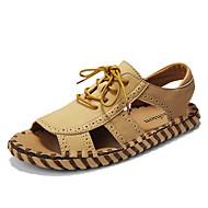 저렴한 -남성용 구두 가죽 여름 캐쥬얼 샌들 등산화 일상 용 할로우 아몬드 / 화이트 / 블랙
