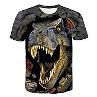 billige -Børn Drenge Basale Gade Dinosaur Farveblok 3D Dyr Trykt mønster Kortærmet T-shirt Regnbue