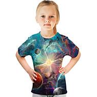 Børn Pige Basale Gade Farveblok 3D Trykt mønster Kortærmet T-shirt Blå