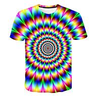 Niños Chico Básico Chic de Calle Bloques 3D Arco iris Estampado Manga Corta Camiseta Arco Iris