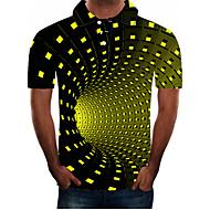 رجالي مناسب للبس اليومي قياس كبير بولو ستايل 3D الرسم كم قصير نحيل قمم أناقة الشارع مبالغ فيه قبعة القميص أخضر