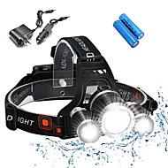 voordelige -Hoofdlampen Fietsverlichting Fietskoplamp Waterbestendig Oplaadbaar 5000 lm LED 3 emitters 4.0 Verlichtings Modus inklusive Batterien und Ladegeräten Waterbestendig Oplaadbaar Schokbestendig Kamperen