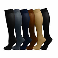 cheap -Compression Socks Athletic Sports Socks Running Socks 6 Pairs Men's Women's Socks Breathable Moisture Wicking Sweat-wicking Comfortable Running Jogging Sports Spots & Checks Nylon White Black Grey
