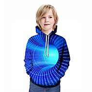 cheap -Kids Boys' Active Streetwear Geometric 3D Patchwork Print Long Sleeve Hoodie & Sweatshirt Rainbow
