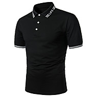 Men's Solid Colored Letter Red Patchwork Polo Basic Daily Work Shirt Collar Black / Red / Short Sleeve