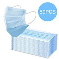 50 pcs Maska za lice Vodootporno Za jednokratnu upotrebu Protection 3 sloja Na lageru Nonwoven Fabric Rastopljeni filtar za raspršivanje tkanine Plava