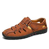 ราคาถูก -สำหรับผู้ชาย พิมพ์ Oxfords แน๊บป้า Leather ฤดูร้อนฤดูใบไม้ผลิ ไม่เป็นทางการ รองเท้าแตะ รองเท้าน้ำ ระบายอากาศ สีดำ / น้ำตาลเข้ม / สีเหลือง