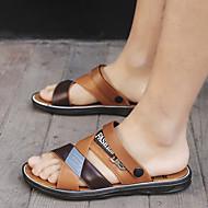 ราคาถูก -สำหรับผู้ชาย หนังสัตว์ ฤดูร้อนฤดูใบไม้ผลิ คลาสสิก รองเท้าแตะ วสำหรับเดิน ระบายอากาศ สีน้ำตาลอ่อน / น้ำตาลเข้ม