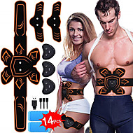 Abs Stimulator Abdominal Toning Belt EMS Abs Trainer Sports Silicon PU (Polyurethane) ABS Resin Exercise & Fitness Gym Workout Smart Electronic Muscle Toner Muscle Toning Tummy Fat Burner For Men