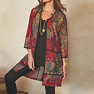 Women's Floral Long Sleeve Cardigan Sweater Jumper, Round Neck Wine / Purple / Green S / M / L