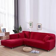 abordables -nordique simple solide couleur élastique housse de canapé paquet complet unique double trois personnes housse de canapé