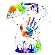 Børn Pige Basale Gade Farveblok 3D Regnbue Trykt mønster Kortærmet T-shirt Regnbue