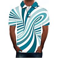 Bărbați Mărime Plus Size Bloc Culoare #D Zvelt Polo Șic Stradă Exagerat Zilnic Ieșire Guler Cămașă Albastru piscină / Manșon scurt
