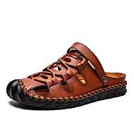 ราคาถูก -สำหรับผู้ชาย ฤดูร้อน คลาสสิก ทุกวัน กลางแจ้ง รองเท้าแตะ รองเท้าน้ำ / รองเท้าต้นน้ำ หนัง ระบายอากาศ ไม่ลื่นไถล สีดำ / สีกากี / สีน้ำตาล