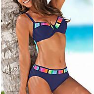 نسائي ملابس السباحة Push Up ألوان متناوبة ملابس السباحة بدلة سباحة أسود أزرق نبيذ أخضر
