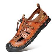 저렴한 -남성용 편안한 신발 봄 / 여름 캐쥬얼 일상 집 밖의 샌들 워킹화 내파 가죽 통기성 브라운 / 블랙
