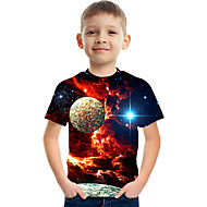 お買い得  -子供 男の子 ベーシック ストリートファッション カラーブロック 3D プリント 半袖 Tシャツ ルビーレッド