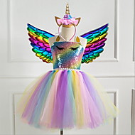 cheap -Kids Girls' Princess Party Dress Rainbow Dress Purple
