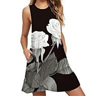 Dámské Úpletové šaty Mini šaty - Bez rukávů Květinový Do V Černá Vodní modrá Rubínově červená Žlutá Trávová zelená S M L XL XXL