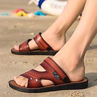 저렴한 -남성용 구두 가죽 여름 / 봄 여름 클래식 / 브리티쉬 샌들 워킹화 집 밖의 / 사무실 및 경력 용 밝은 브라운 / 어두운 무늬