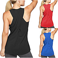 cheap -Women's Yoga Top Yoga Tops Cross Back Fashion Black Red Pink Grey Green Cotton Fitness Gym Workout Running Tee Tshirt Tank Top Sleeveless Sport Activewear Lightweight Breathable Quick Dry Moisture