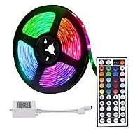 billige -loende led stripelys 5m 300 led 2835 smd rgb tape lys selvklebende flerfarget for romkjøkken tv festivalbelysning med fjernkontroll 12v